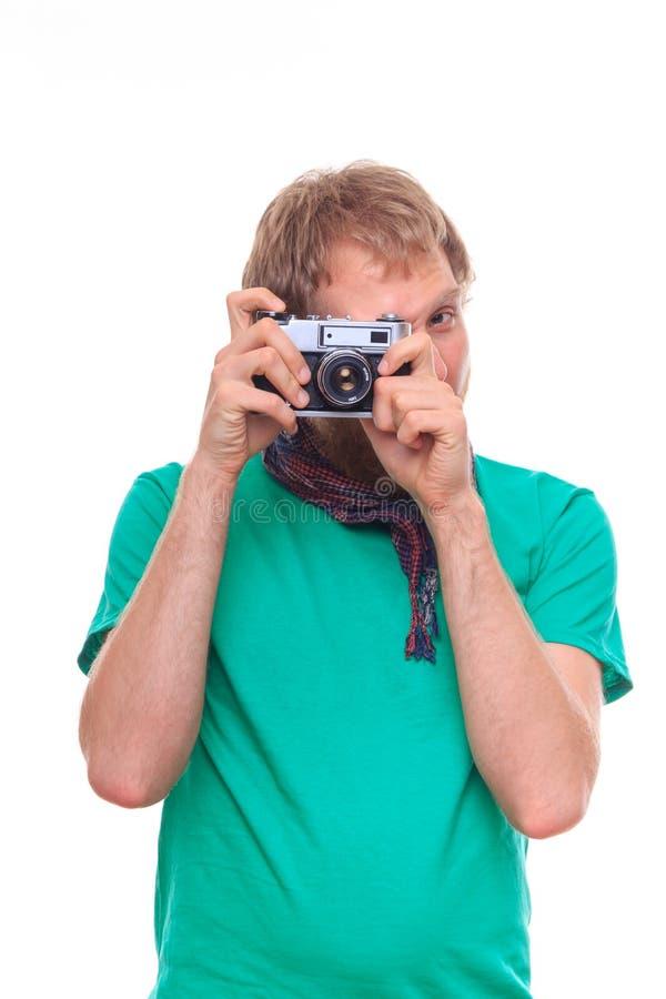 Studioporträt des Mannfotografierens stockfotos