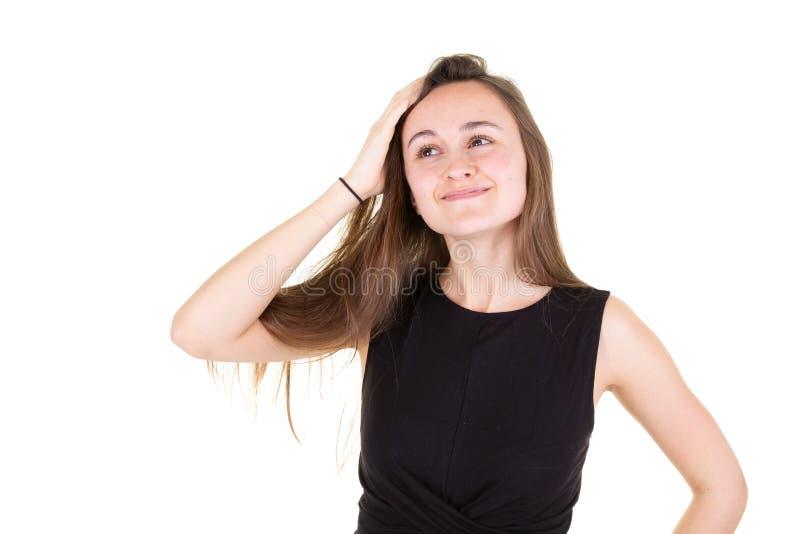 Studioporträt einer schönen jungen Frau mit dem hübschen vorbildlichen Mädchen des braunen Haares, das weg oben schaut stockfotografie