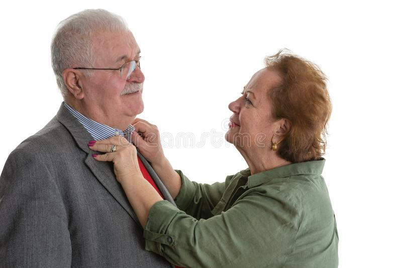 Studioporträt von verheirateten älteren Paaren stockfotos
