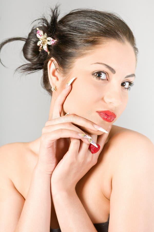 Studioportrait des schönen Mädchens stockfotografie