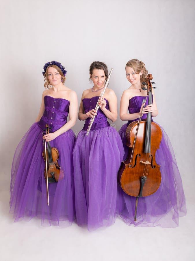 Studioportret van een muzikaal trio royalty-vrije stock afbeeldingen