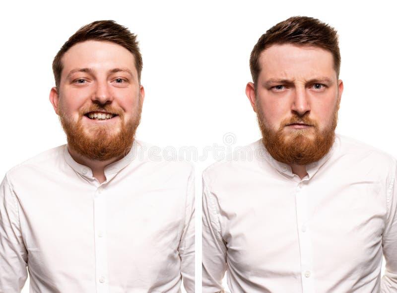 Studioportret van het jonge knappe glimlachen en de ernstige gembermens met baard royalty-vrije stock afbeeldingen