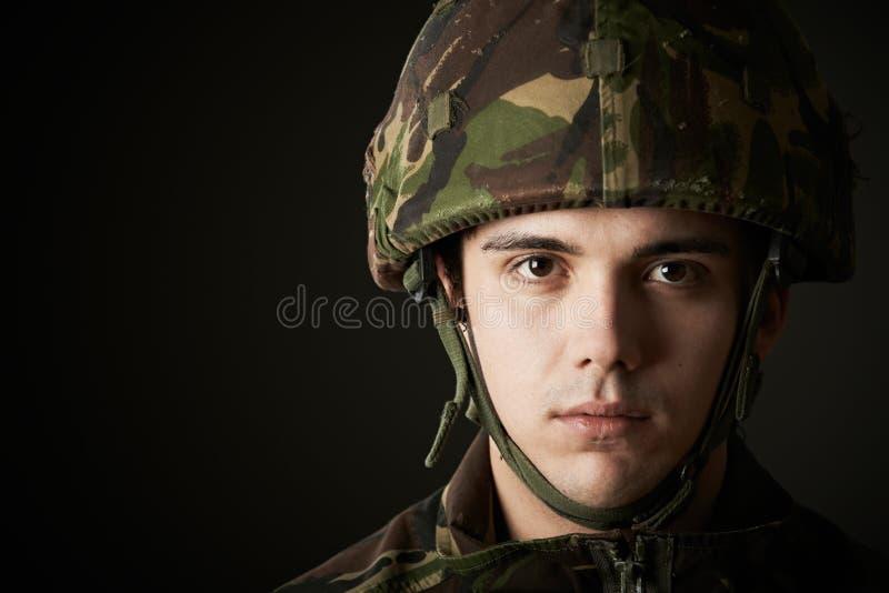 Studioportret van Militair In Uniform royalty-vrije stock afbeelding