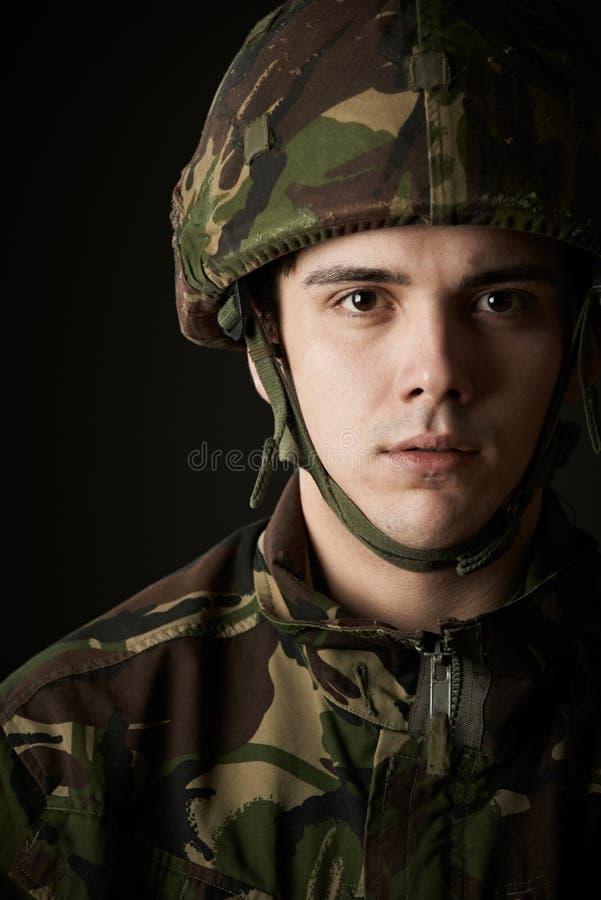Studioportret van Militair In Uniform royalty-vrije stock foto