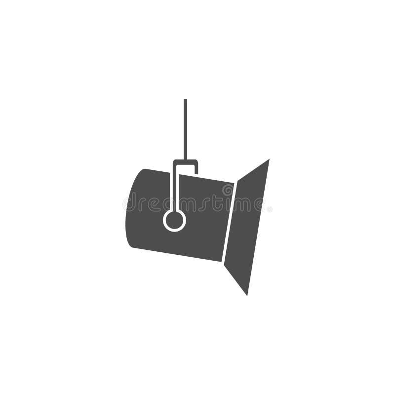 Studioscheinwerferikone Kinoelementikone Erstklassiges Qualitätsgrafikdesign Zeichen, Entwurfssymbol-Sammlungsikone für Website,  lizenzfreie abbildung