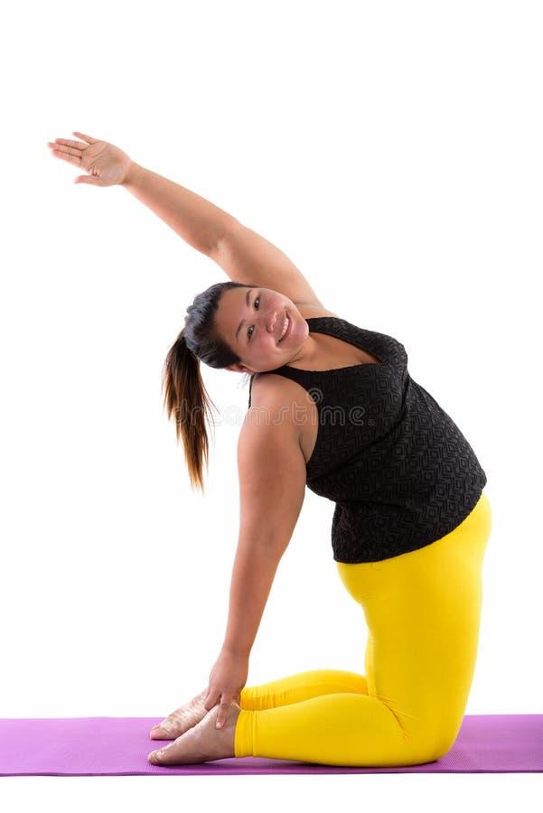Studioskott av den unga lyckliga feta asiatiska kvinnan som ler, medan göra y royaltyfri fotografi