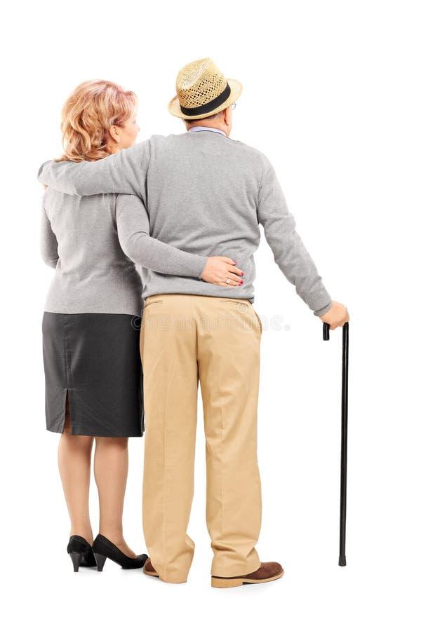 Studioskott av ett lyckligt högt par som kramar, bakre sikt royaltyfri fotografi
