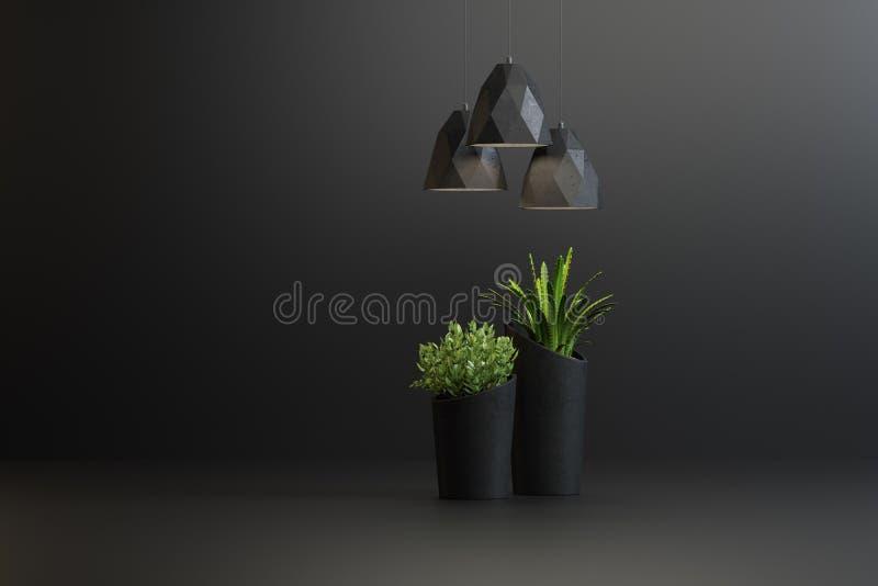 Studioskott av lampor och växter i vaser stock illustrationer