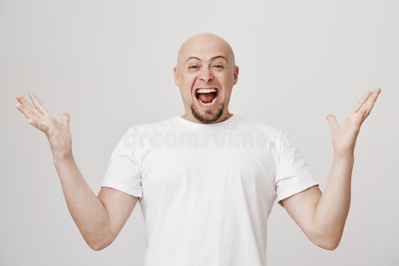 Studiostående av den förkrossade och upphetsade skalliga caucasian mannen med att ropa för skägg av lycka och fördelande händer royaltyfri bild