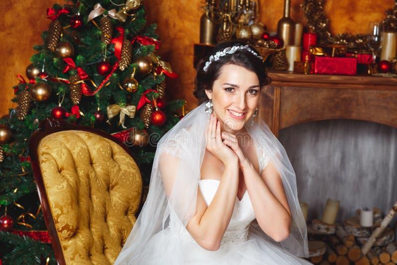 Studiostående av den härliga bruden julen dekorerar nya home idéer för garnering till arkivfoton