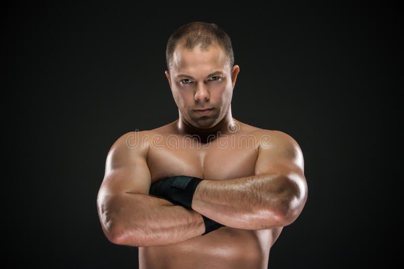 Studiostående av den unga caucasian boxaren med royaltyfria bilder