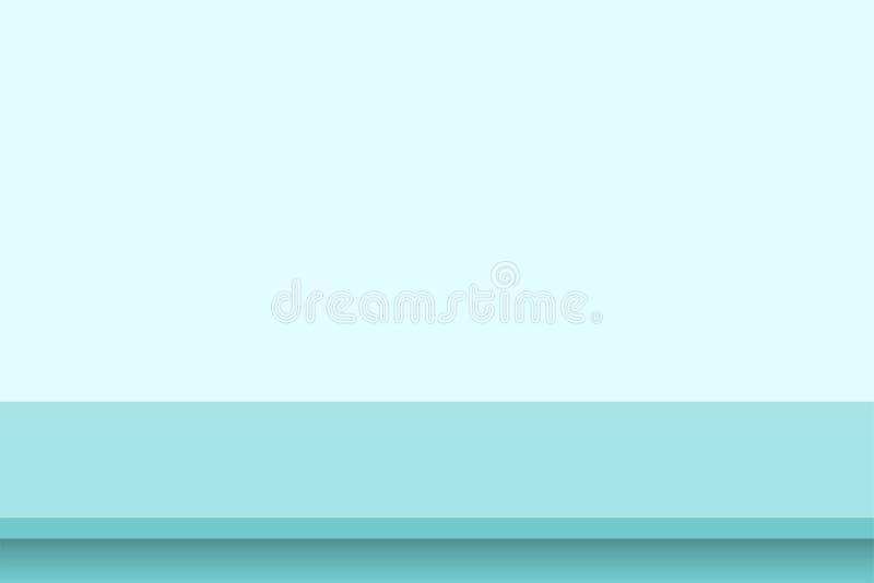Studiotabellen-Raumhintergrund der Schablone leerer blauer Tabelle auf klarem Wandhintergrund Fahne für annoncieren Produkt auf W lizenzfreie abbildung