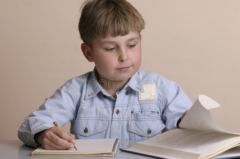Download Studious boy stock image. Image of reading, textbook, classroom - 29829