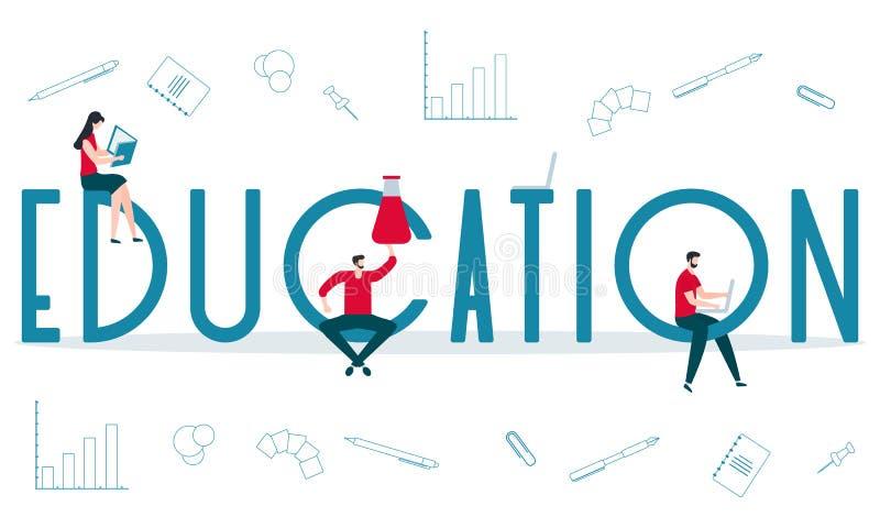 Studiowanie podręczników edukacyjnych Nauka ilustracja wektor