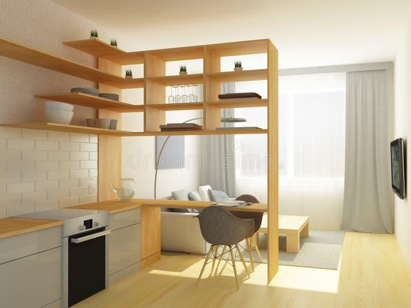 Studiowoonkamer en keuken royalty-vrije stock afbeeldingen