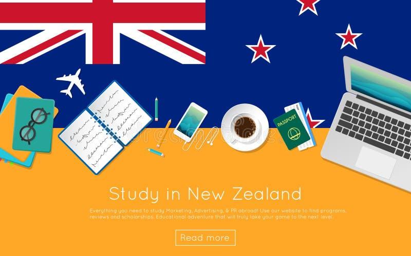 Studiuje w Nowa Zelandia pojęciu dla twój sieć sztandaru royalty ilustracja