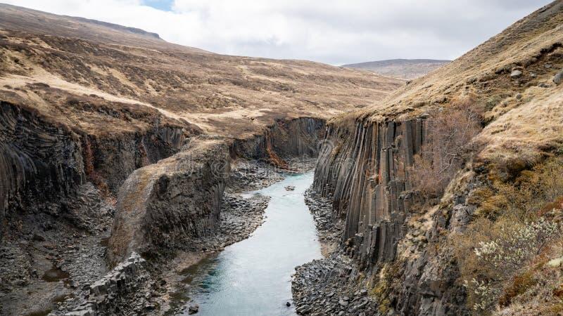 Studlagil basalt canyon com colunas basálticas vulcânicas, Islândia fotografia de stock