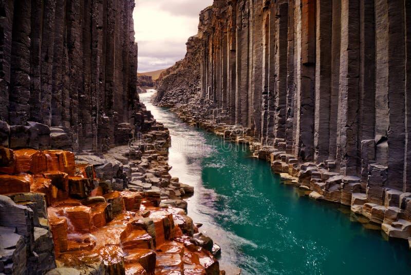 Studlagil basaltkanjon, Island royaltyfri fotografi