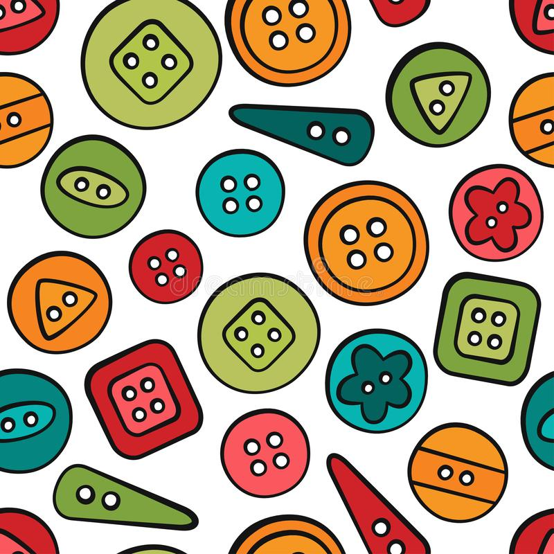 Studs. Sewing and needlework. Tools and accessories. Seamless pattern in doodle and cartoon style. Colorful. Linear stock illustration