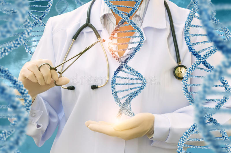 Study of DNA molecules by a doctor . Study of DNA molecules by a doctor on a blue background stock photography