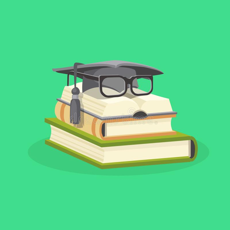 Study and education flat design concept. Vector illustration. Educational study books stacked and on them a graduation cap and student glasses. Study and vector illustration