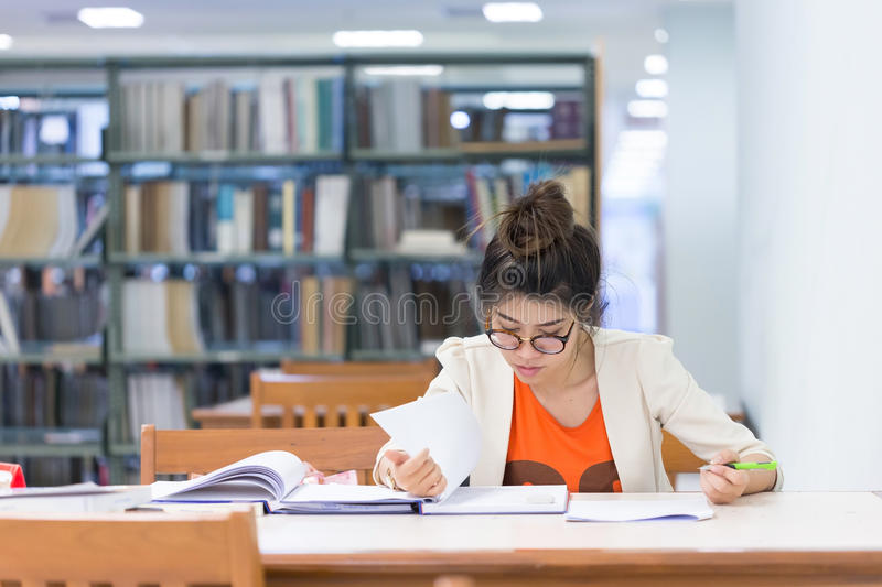 Study education, woman worked. In the library stock images