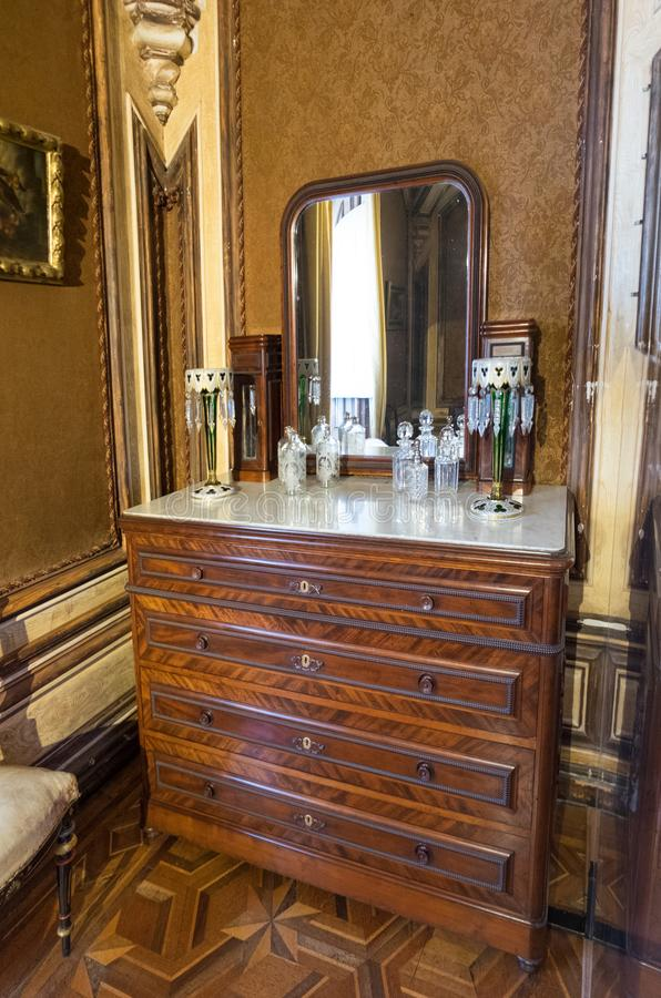 Study of Ferdinand II later it was used as the Dressing Room of Queen Amelia in Pena Palace. Sintra, Portugal stock photos