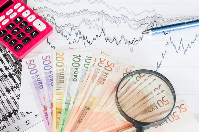 Study of financial opportunities. Numerical and graphical data simulating a financial study royalty free stock photo