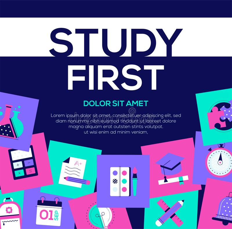 Study first - colorful flat design style web banner stock illustration
