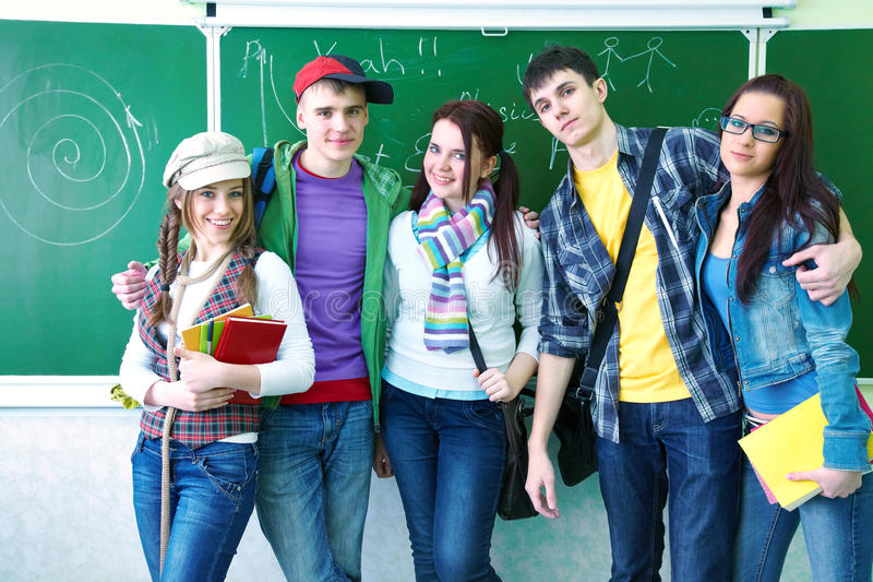 Download Study group in classroom stock photo. Image of cheerful - 26451674