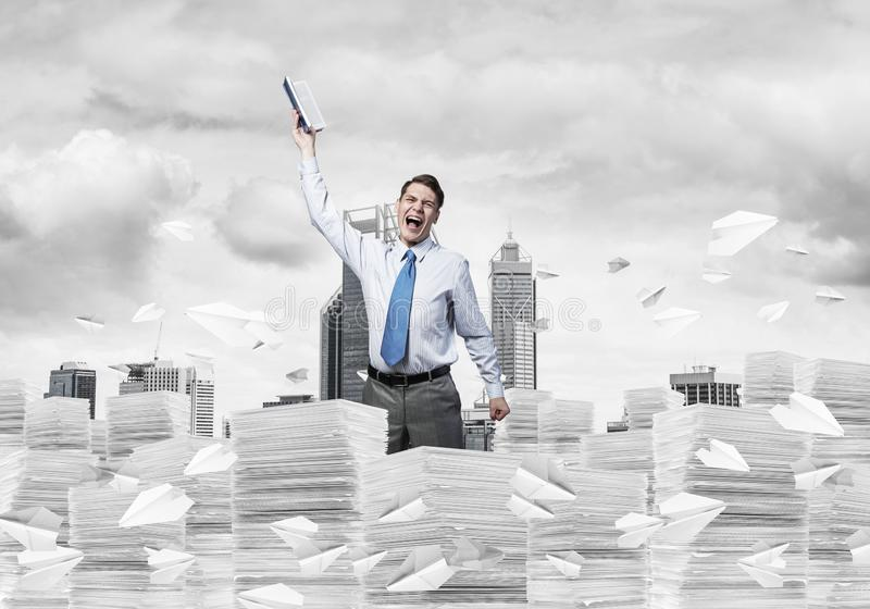 Study hard to become successful businessman. royalty free stock image