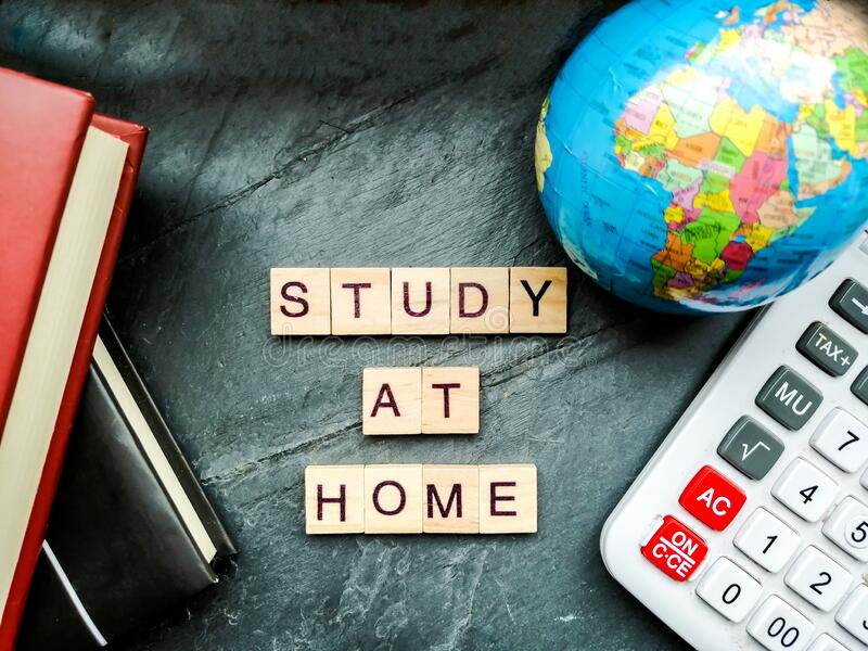 Study at home stock photos
