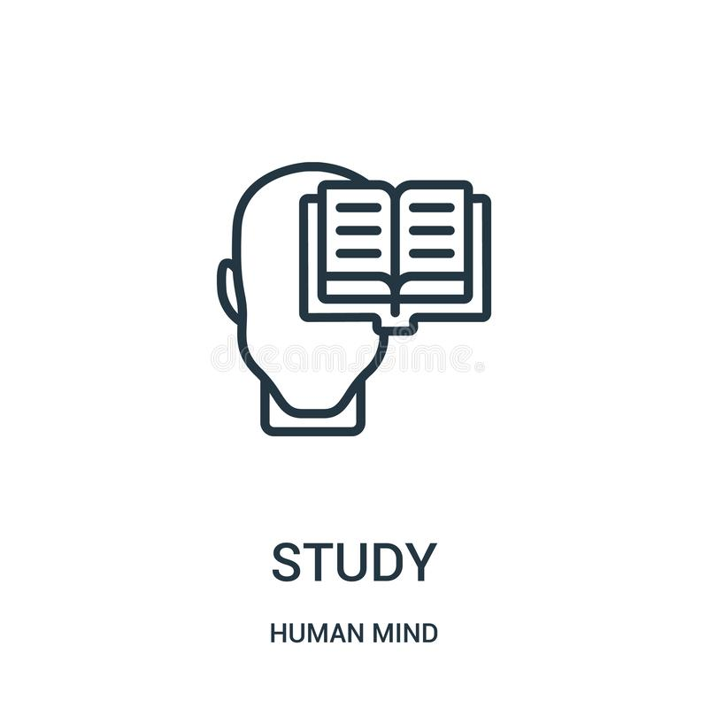 study icon vector from human mind collection. Thin line study outline icon vector illustration. Linear symbol for use on web and royalty free illustration