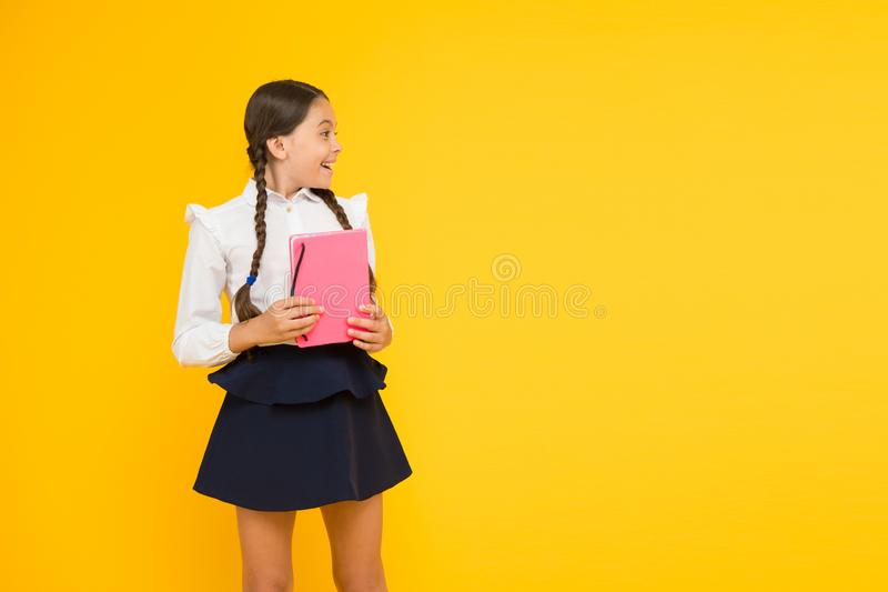 Study language. Study at home. Cute child study with textbook. Back to school concept. Girl hold book. School girl on royalty free stock images