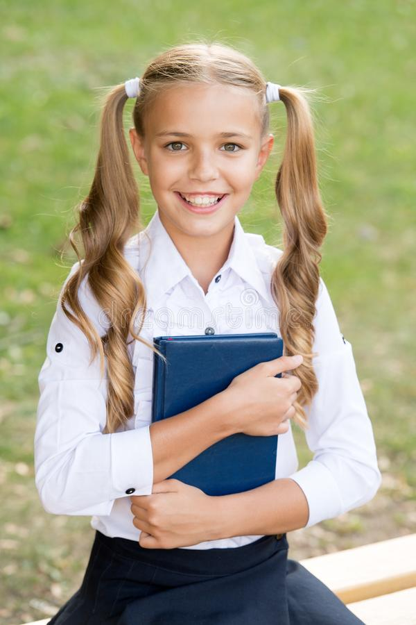 Study language. School education concept. Cute little bookworm. Knowledge day. Ready for lessons. Secondary school royalty free stock images