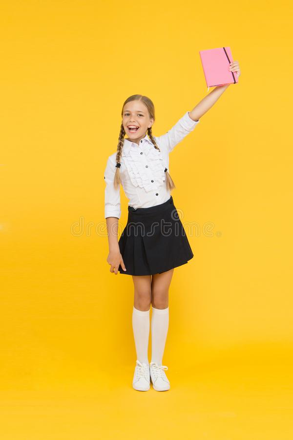 Study literature. Towards knowledge. Learn following rules. Welcome back to school. Inspirational quotes motivate kids. For academic year ahead. School girl stock photo