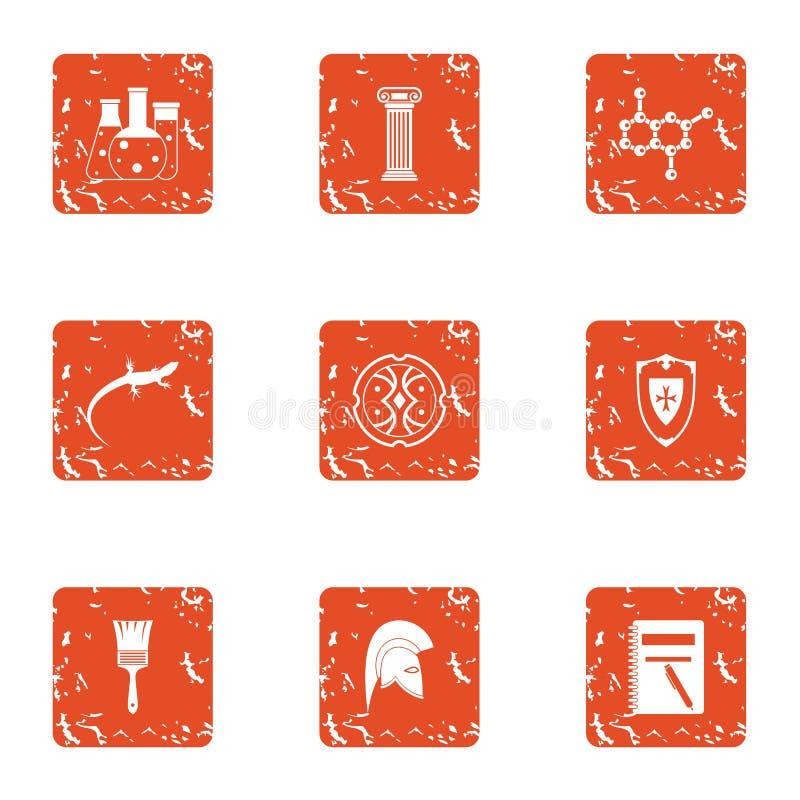 Study of lizard icons set, grunge style royalty free illustration