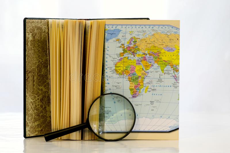Study of the map stock photography