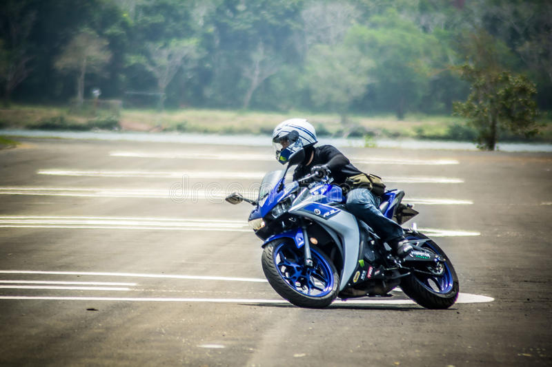 Study move and drive basic for motocycle. Safety in road when study drive basic with yamaha yzf-r3 stock photo