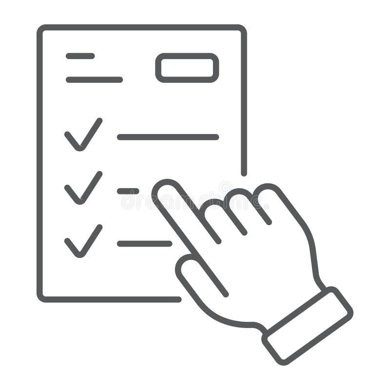 Study program thin line icon, e learning royalty free illustration