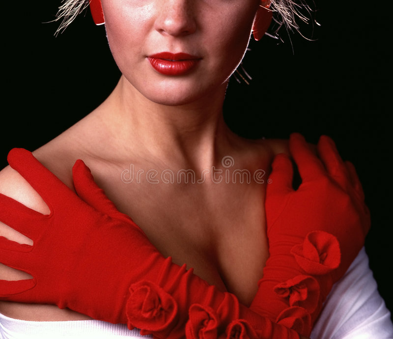 Download Study in red stock image. Image of cleavage, gloves, fashion - 20863