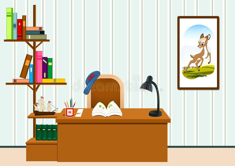 Study room. Children study room with desk, shelves with books, lamp, pencils, painting royalty free illustration