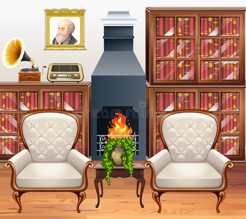 Study room with two armchairs. Illustration vector illustration