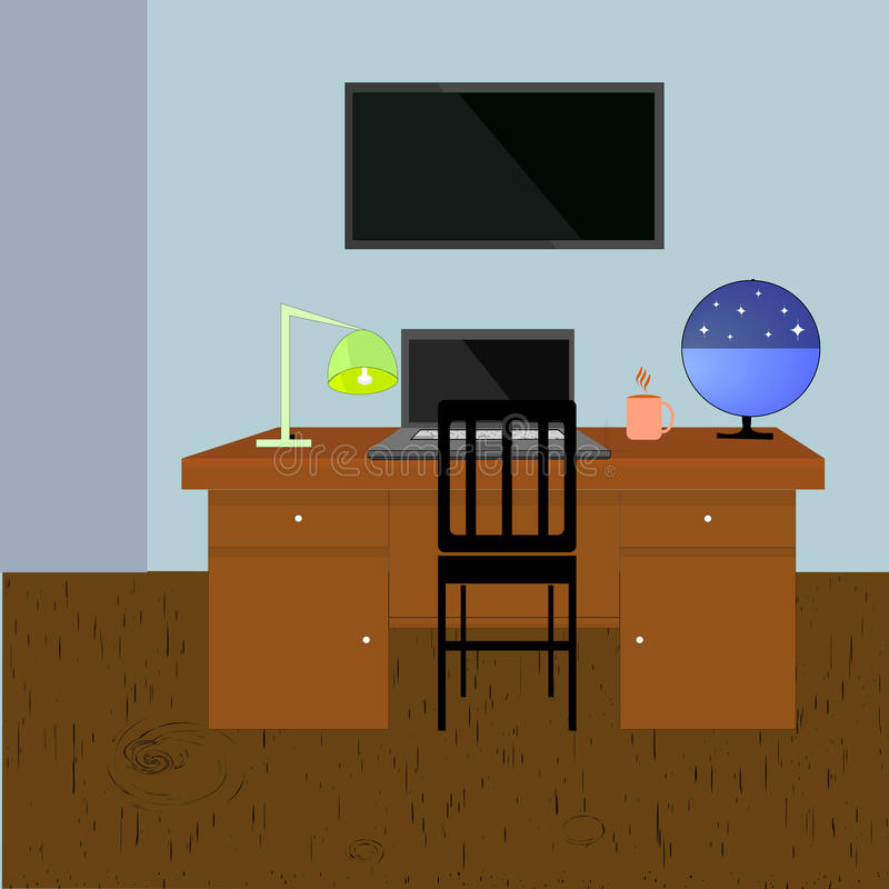 Study Room Vector Illustration. Vector interior of study room with wooden floor, screen monitor on the wall, computer table. Lamp, celestrial sphere, cup of royalty free illustration