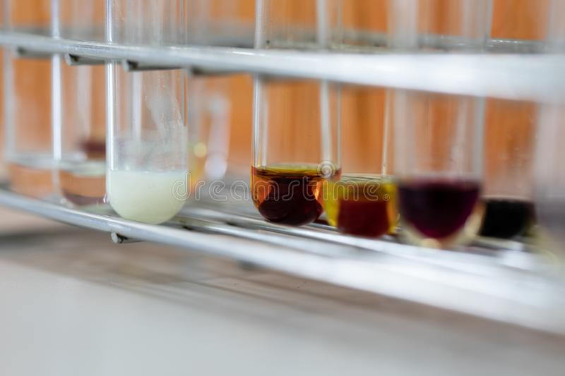 The study Separating by filtration the component substances from liquid mixture. stock photos