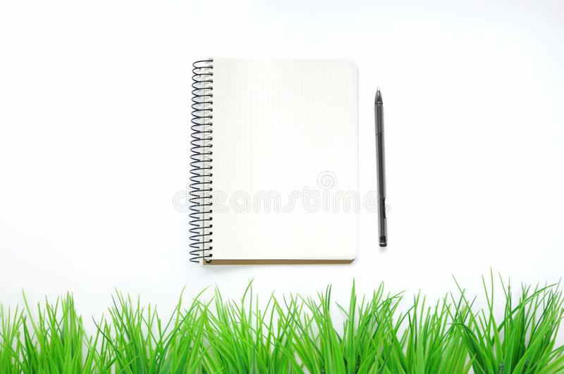 Study stuff. Education background. Stationery. Aspects of education. Pen and opened notebook on the table with decorative green gr royalty free stock photo