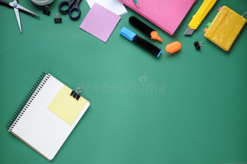 Study stuff. Education background. Stationery. Aspects of education. Pencil, papers, markers, scissors, folder, scotch tape, clips stock image