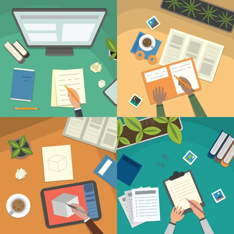 Study table and work desktop vector illustration set. school lesson studying and educational elements top view. royalty free stock photos