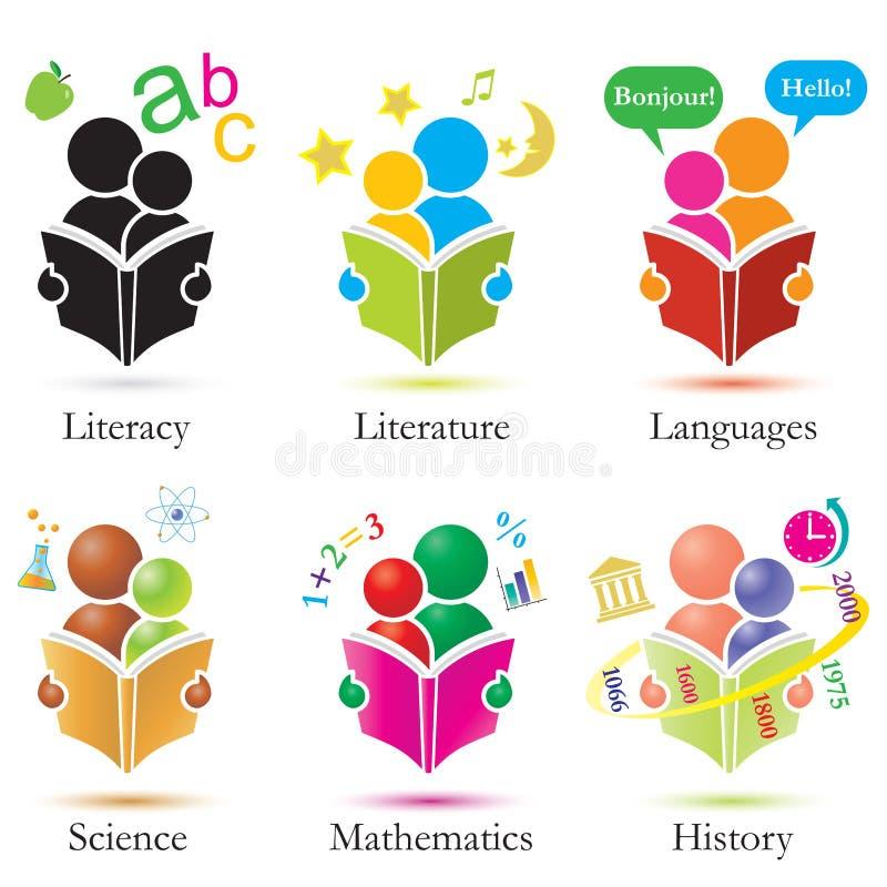 Study Together Icons Set stock illustration