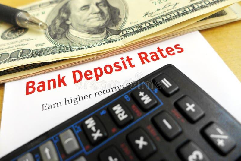 Studying bank deposit rates stock photos